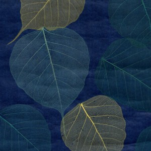 Blue : Lime Green Leaf Natural Wall Covering