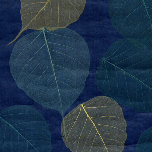 Rich Blue And Lime Natural Leaf Wall Covering