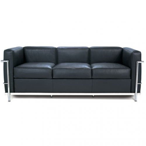 le corbusier style lc2 petite 3 seater sofa. Black Bedroom Furniture Sets. Home Design Ideas