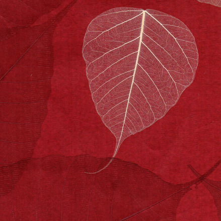 Red & Cream Natural Leaf Wall Covering