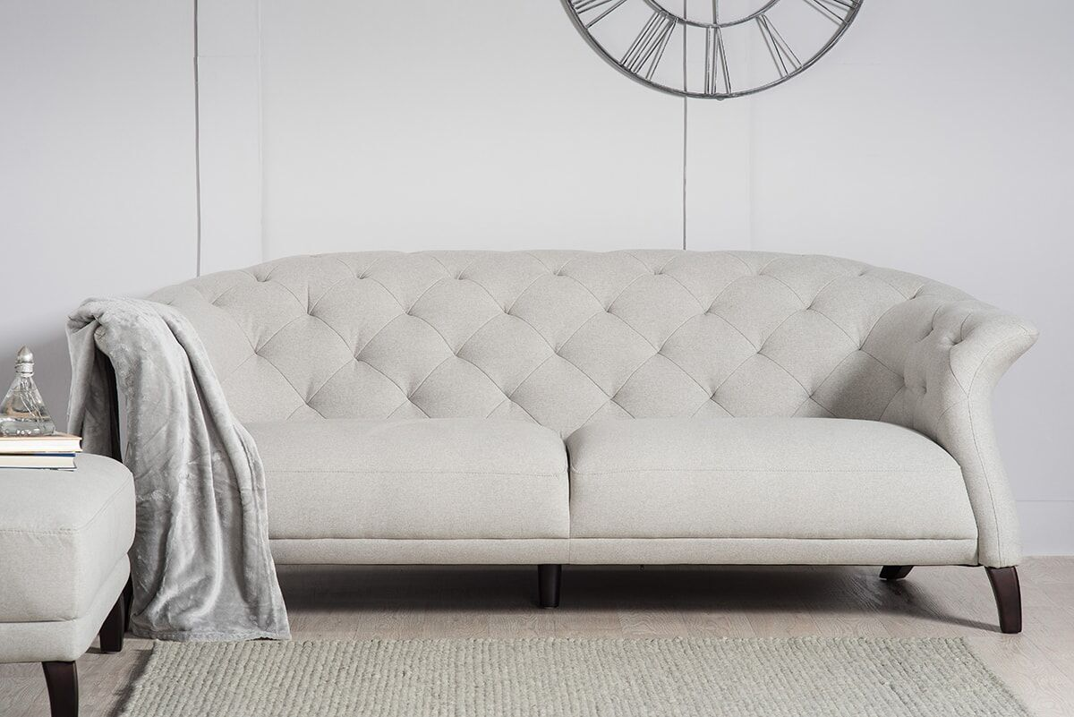 Crispin 4 Seater Modern Chesterfield Sofa Grey Modern