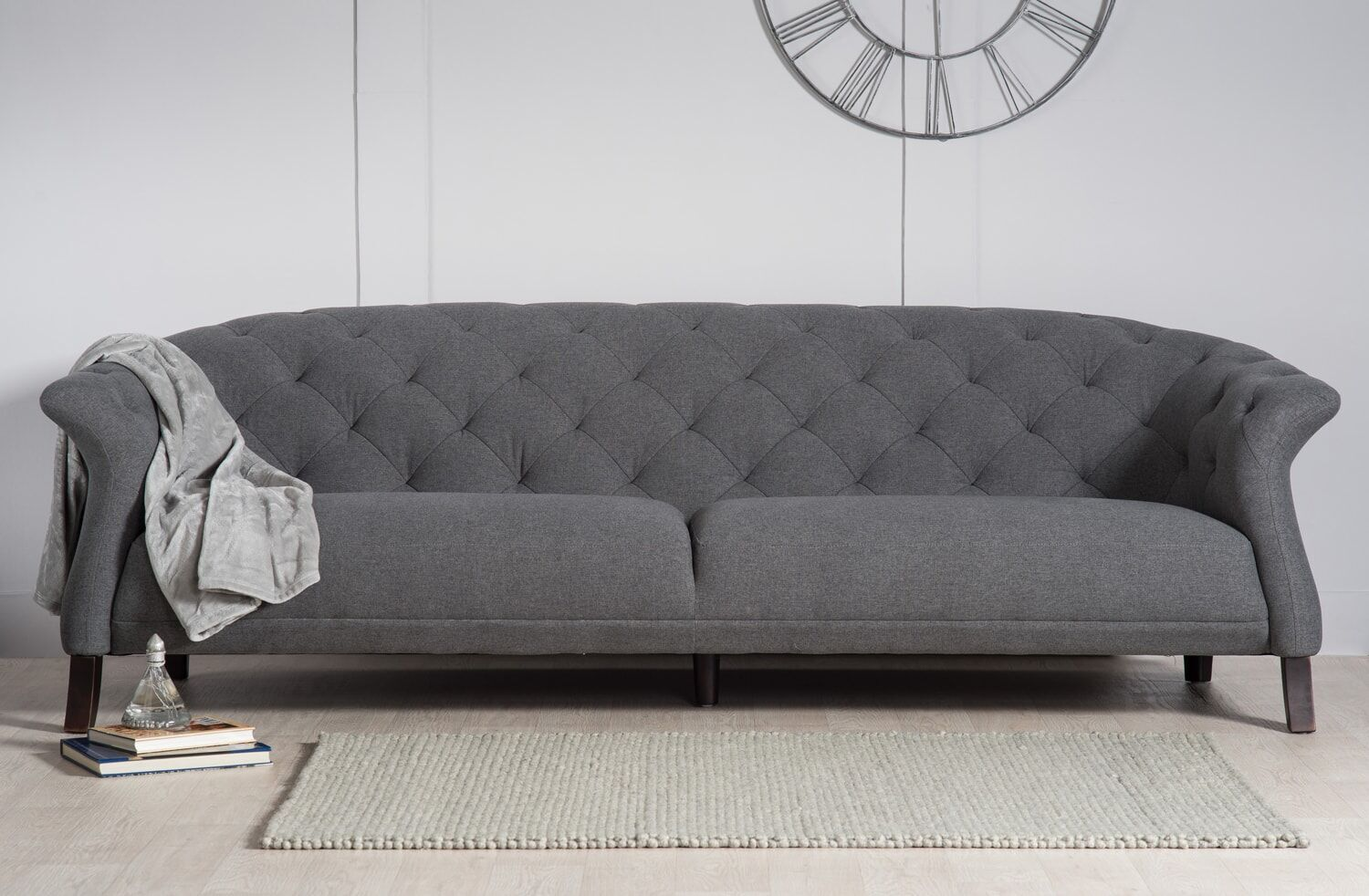 crispin 4 seater modern chesterfield sofa grey modern chesterfield. Black Bedroom Furniture Sets. Home Design Ideas