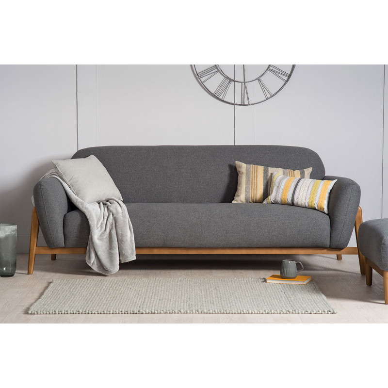 Home / LIVING / Sofas / 3 Seater Sofas / Milo Modern 3 Seater Sofa  Dark  Grey