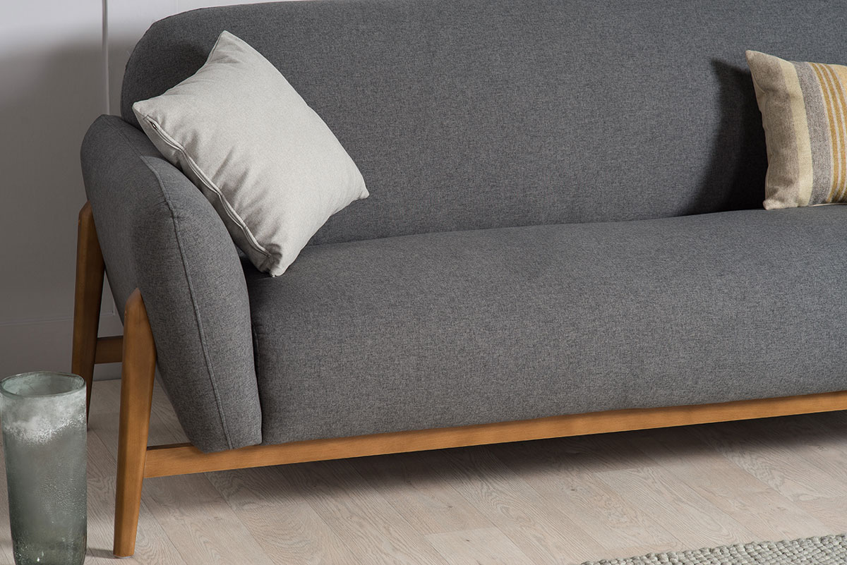Milo Modern 3 Seater Sofa Dark Grey The Natural