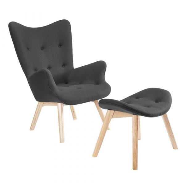 Contour Lounge Chair & Ottoman angle view