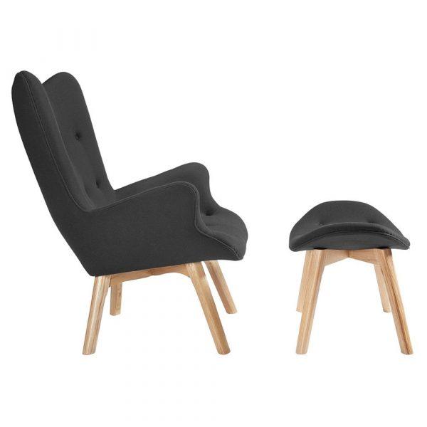 Contour Lounge Chair & Ottoman side view